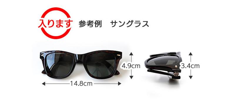 大きなサイズのメガネが入ります。参考例 サングラス。