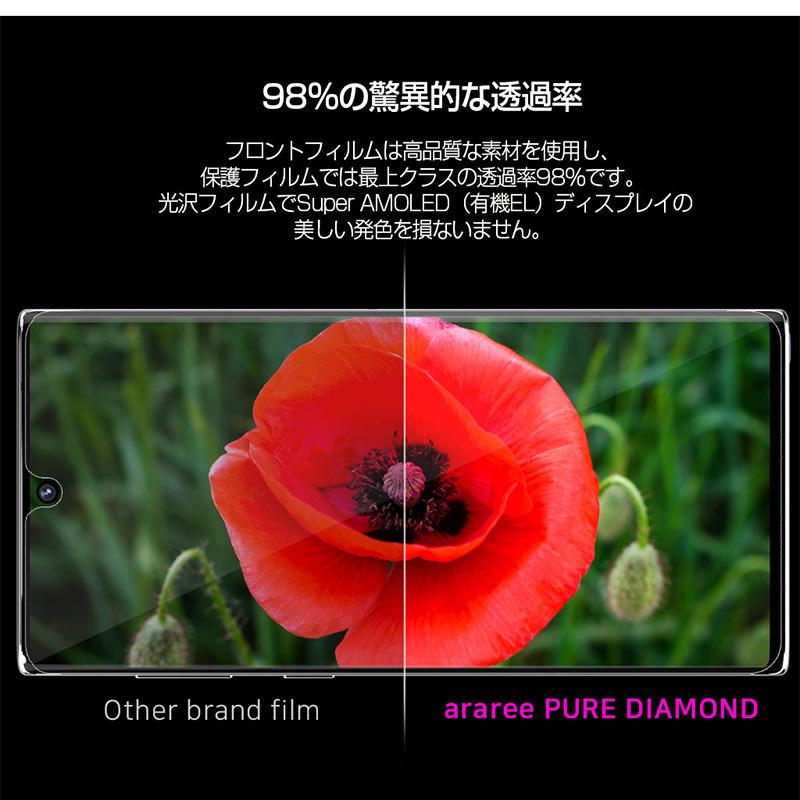 フロントフィルムは高品質な素材を使用し、保護フィルムでは最上クラスの透過率98%です。 光沢フィルムでSuper AMOLED(有機EL)ディスプレイの美しい発色を損ないません。
