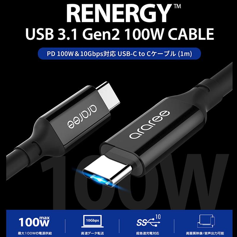 RENERGY PD 100W&10Gbps対応 USB-C to Cケーブル