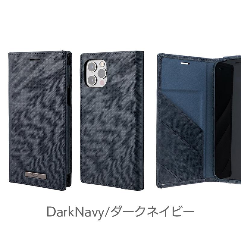 ダークネイビー iPhone13 mini Pro Max ケース 手帳型 レザー スマホケース 革