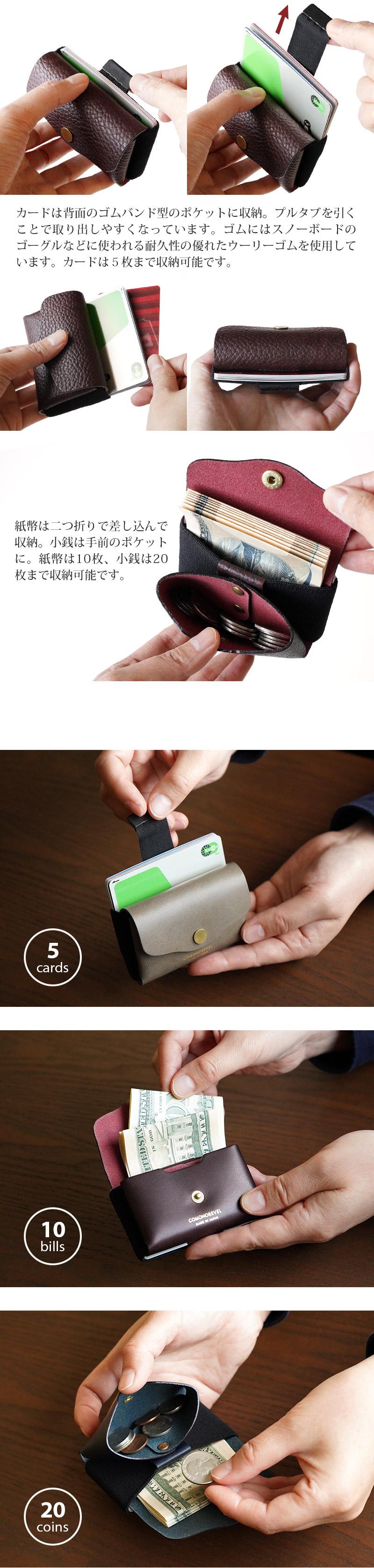 カードは背面のゴムバンド型のポケットに収納。プルタブを引くことで取り出しやすくなっています。ゴムにはスノーボードのゴーグルなどに使われる耐久性の優れたウーリーゴムを使用しています。カードは5枚まで収納可能です。