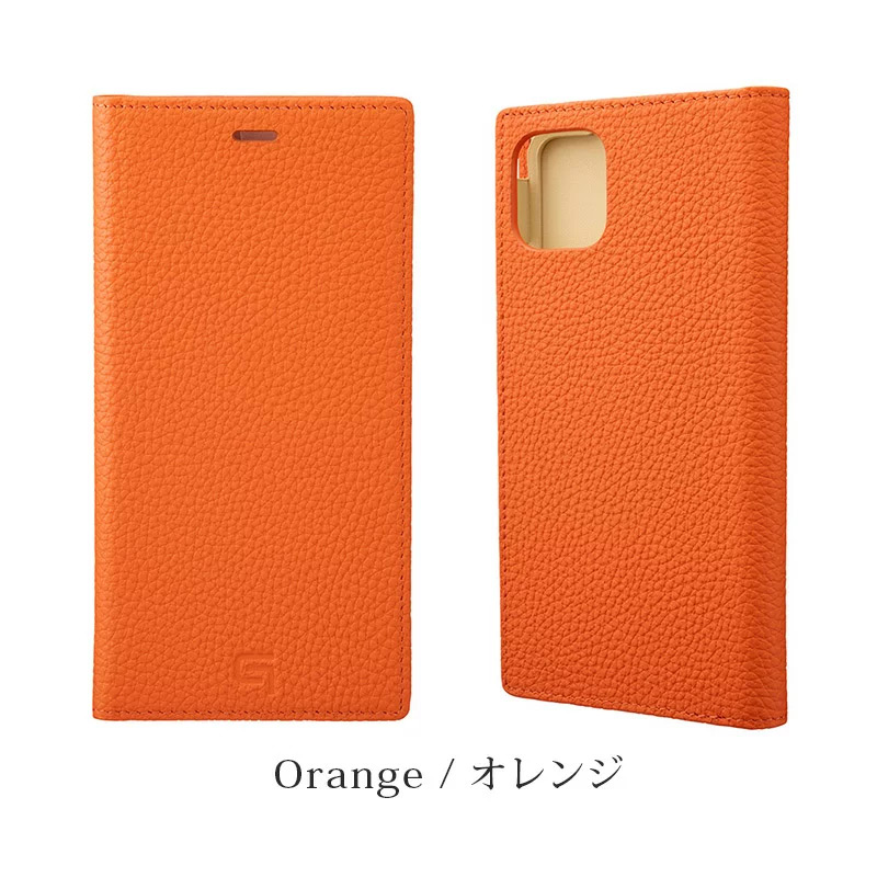 GRAMAS グラマス Shrunken-calf Genuine Leather Book Case。オレンジ Orenge。