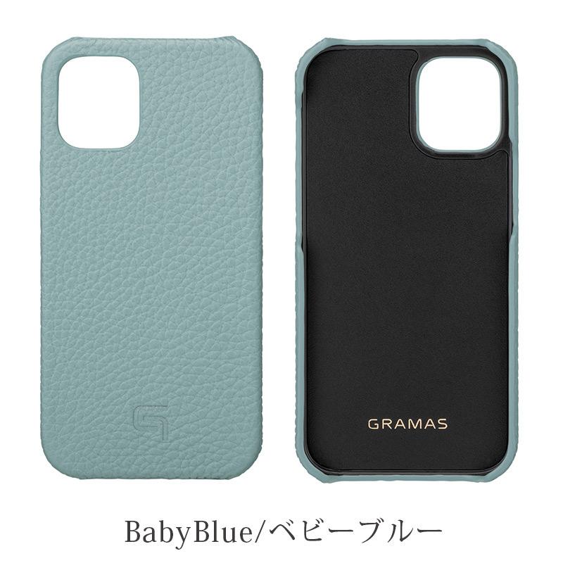 iPhone背面ケース。GRAMAS グラマス Shrunken-calf Leather Shell Case。ベイビーブルー Babyblue。