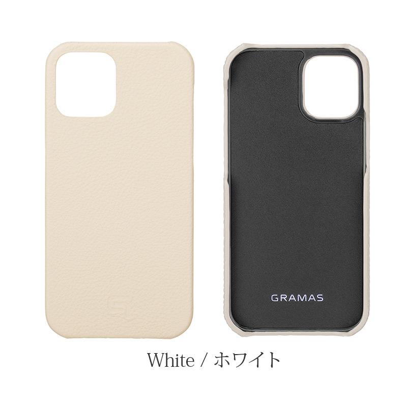 iPhone背面ケース。GRAMAS グラマス Shrunken-calf Leather Shell Case。ホワイト White。