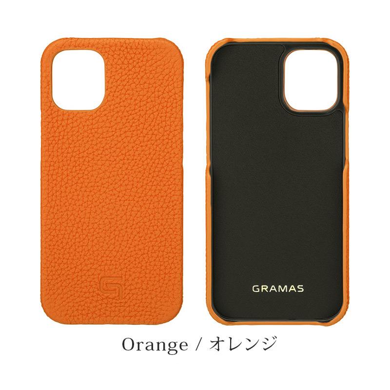 iPhone背面ケース。GRAMAS グラマス Shrunken-calf Leather Shell Case。オレンジ Orenge。