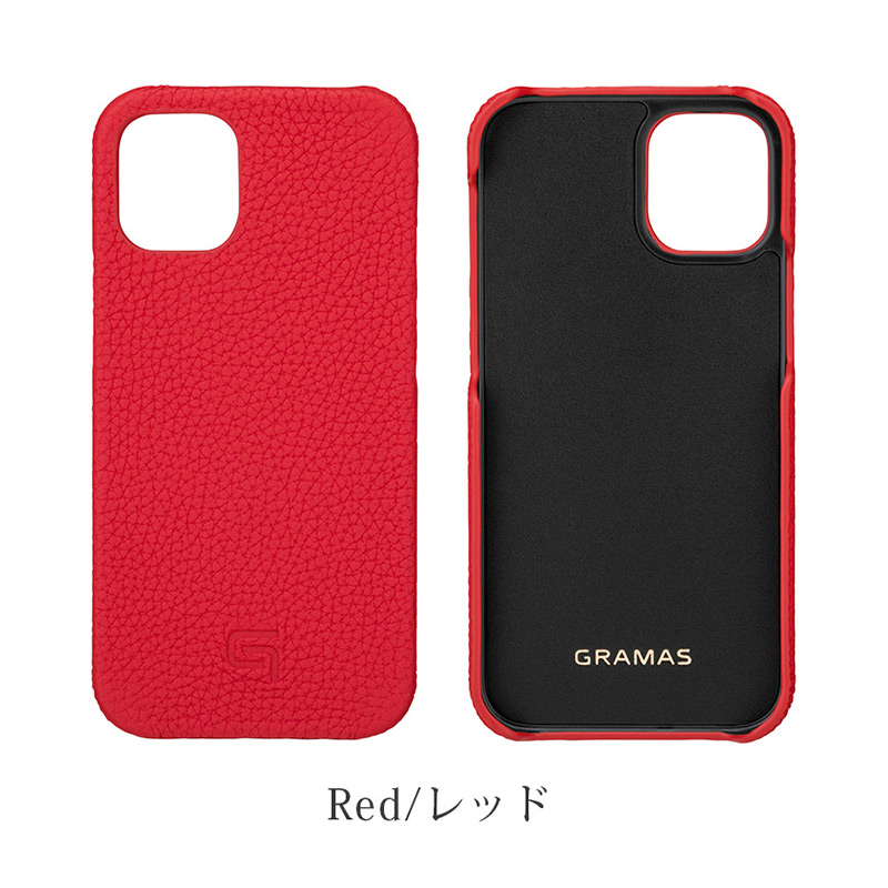 iPhone背面ケース。GRAMAS グラマス Shrunken-calf Leather Shell Case。レッド Red。