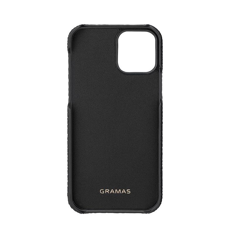 iPhone背面ケース。GRAMAS グラマス Shrunken-calf Leather Shell Case。ポリカーボネート芯材のエッジ部分をレザーと同色の専用塗料で仕上げる、ケース内側にも本革を貼るなど、細部の丁寧な作り込みがケースの質感をより一層高めています。