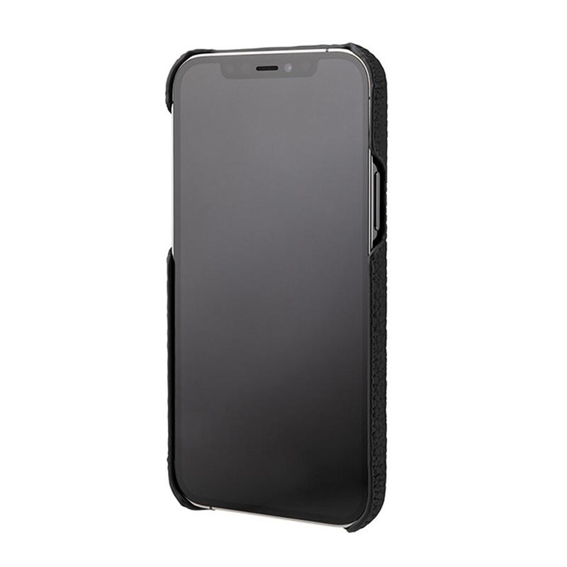 iPhone背面ケース。GRAMAS グラマス Shrunken-calf Leather Shell Case。画面を下にして置いても、iPhoneのディスプレイ面は直にテーブルなどに接触せず、擦り傷を防げます。