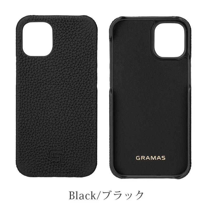 iPhone背面ケース。GRAMAS グラマス Shrunken-calf Leather Shell Case。ブラック Black。