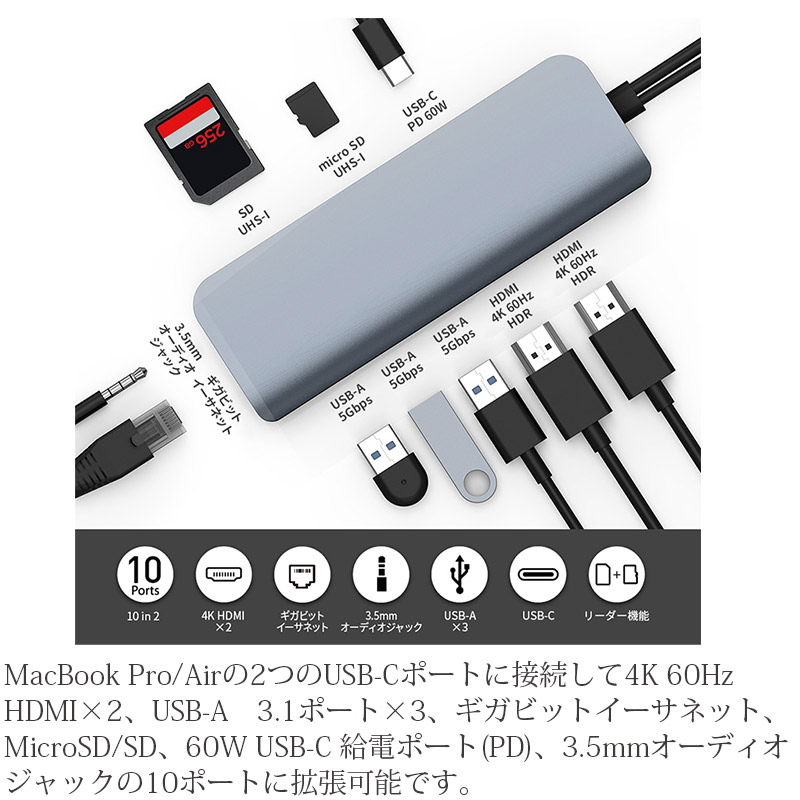 MacBook Pro/Airの2つのUSB-Cポートに接続して4K 60Hz HDMI×2、USB-A 3.1ポート×3、ギガビットイーサネット、MicroSD/SD、60W USB-C 給電ポート(PD)、3.5mmオーディオジャックの10ポートに拡張可能です。