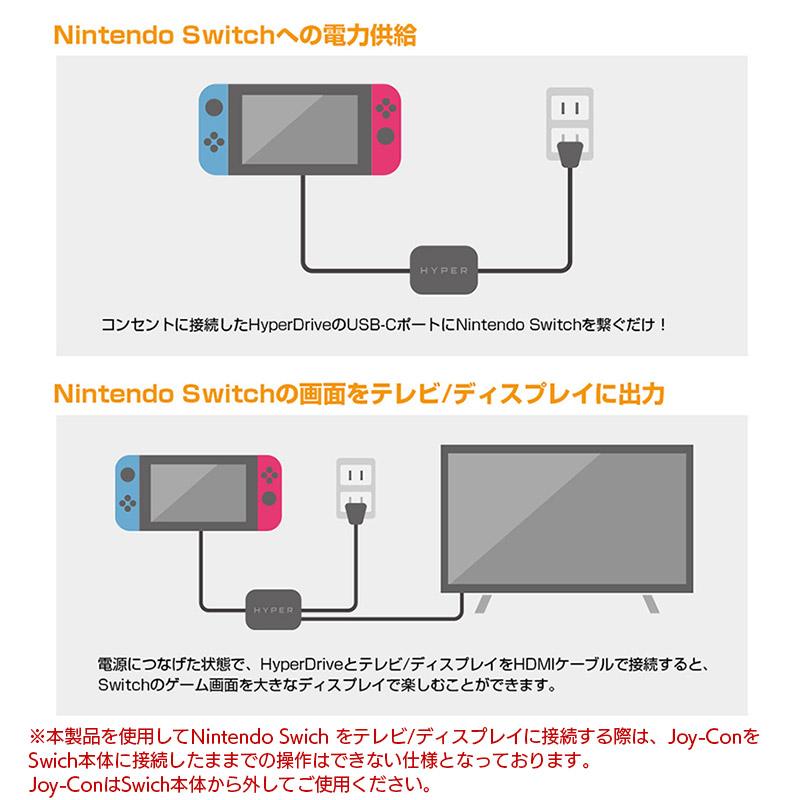 コンセントに接続したHyperDriveのUSB-CポートにNintendo Switchを繋ぐだけ。ゲームを楽しみながらNintendo Switchの充電ができます。電源に充電アダプタをつなげた状態で、HyperDriveとテレビ/ディスプレイをHDMIケーブルで接続すると、Switchのゲーム画面を大きなディスプレイで楽しむことができます。