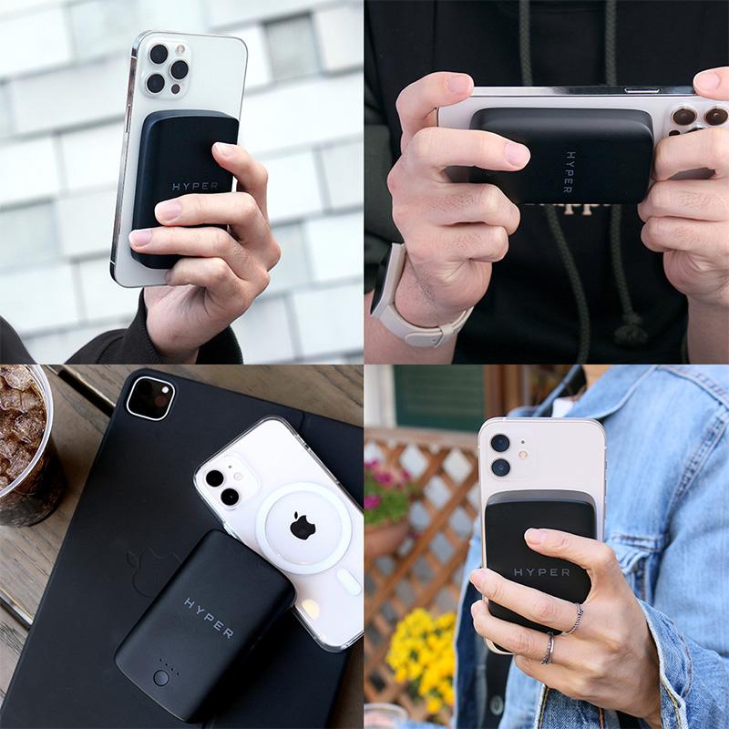 「HyperJuice マグネット式ワイヤレスモバイルバッテリー」は、MagSafe対応iPhoneの背面に磁力で取付・急速充電が可能なマグネット式モバイルバッテリーです。