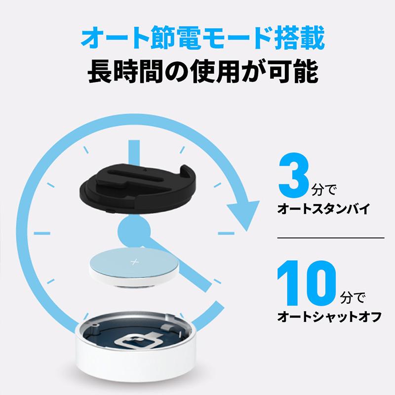 オート節電モード搭載 長時間の使用が可能 使用していないときには自動でモードが切り替わるオートシャットオフ機能を搭載しています。ボタン電池1つで最大6か月間の使用(1日500枚の写真撮影を想定)が可能です。ボタン電池はCR2032リチウム電池を使用しており、ユーザーご自身での交換が可能です。