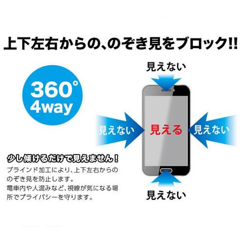 iPhone のぞき見防止 液晶保護フィルム 360℃ 4way プライバシー保護