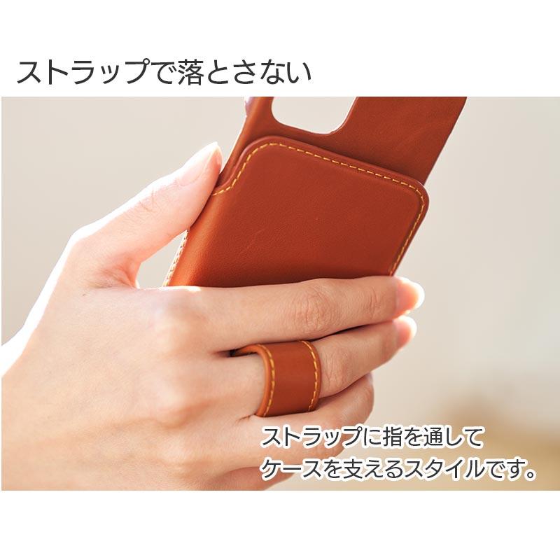 ストラップで落とさない。ストラップに指を通してケースを支えるスタイルです。