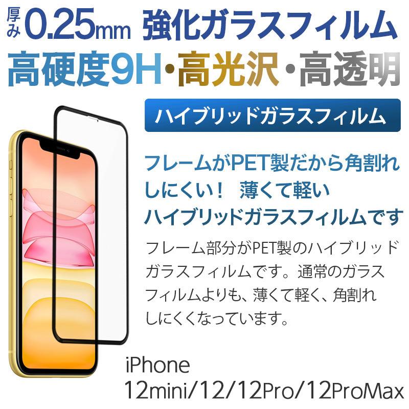 iPhone12/12mini/12Pro/12ProMax 用 ハイブリッドガラス画面保護フィルム。フレーム部分はPET製、薄くて軽く、角割れしにくい。厚み0.25mm高硬度9Hの強化ガラスを採用。