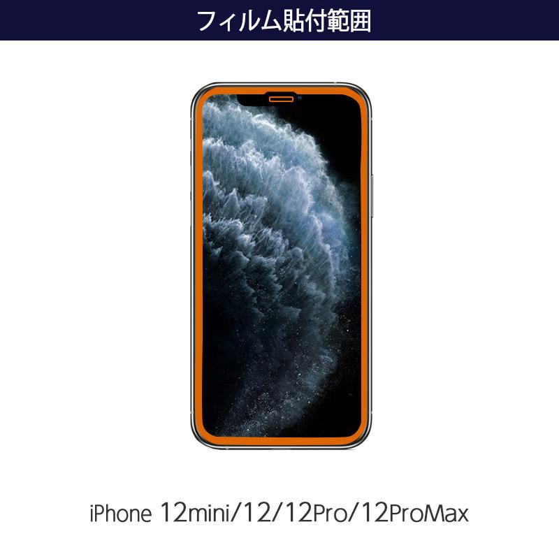 フィルム貼り付け範囲 iPhone12mini/iPhone12/12Pro/12ProMax