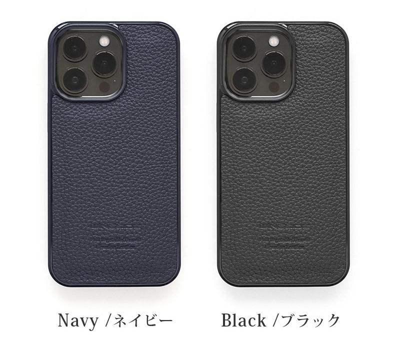 WINGLIDE『iPhone15シリーズ対応 シュランケンカーフ 背面カバー ケース』、ネイビー、ブラック