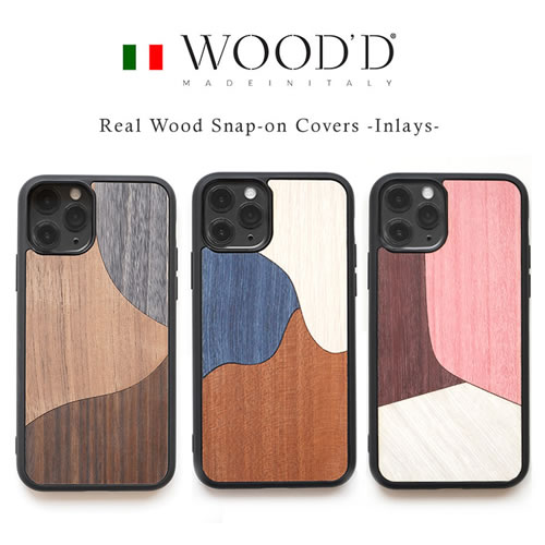 『WOOD'D Real Wood Snap-on Covers INLAYS』 iPhone12mini / iPhone12 / iPhone12Pro / iPhone12ProMax / iPhone11 ケース / iPhone11Pro ケース / iPhoneSE 第2世代 / iPhone8 / iPhone7