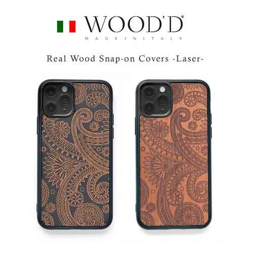『WOOD'D Real Wood Snap-on Covers LASER』 iPhone11Pro 木製ケース