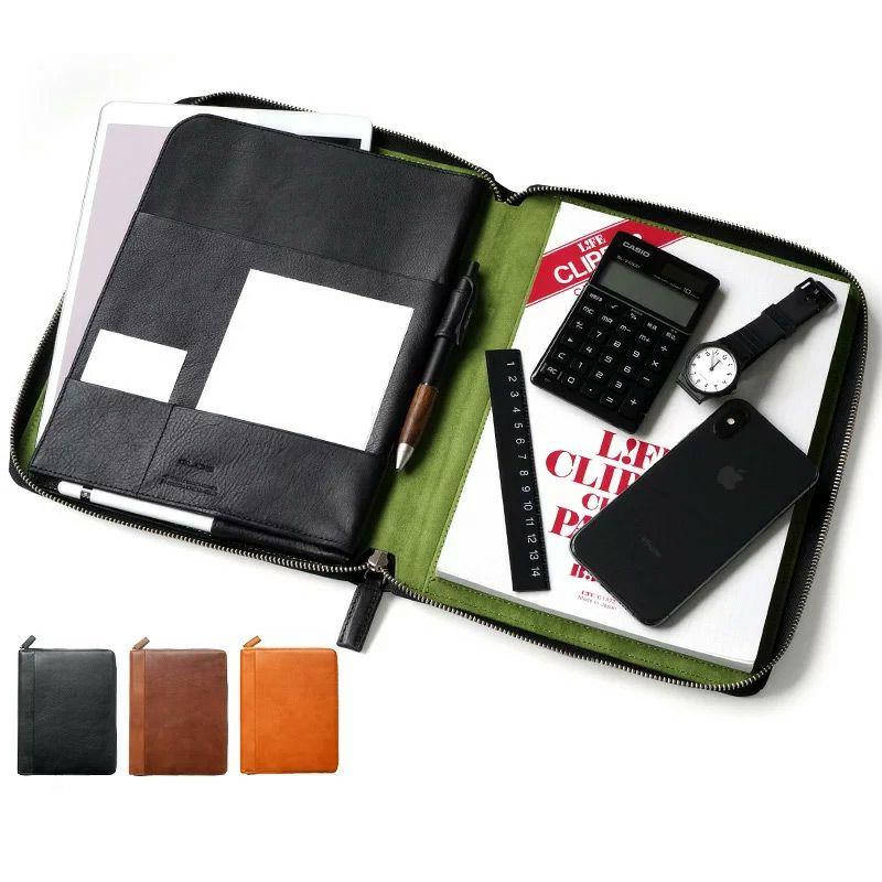 父の日 プレゼント おとうさん ビジネスマン 向け ランキング 3位             『GLIDE iPad & ノートホルダー』 本革 レザー ノートカバー B5サイズ ファスナー